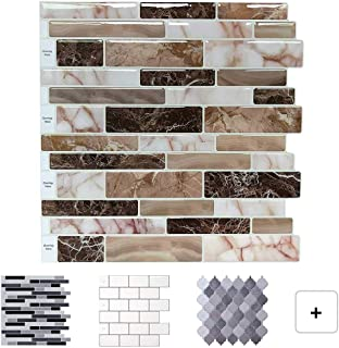 Peel and Stick Tile Backsplash for Kitchen, Marble Design (10 Sheets)