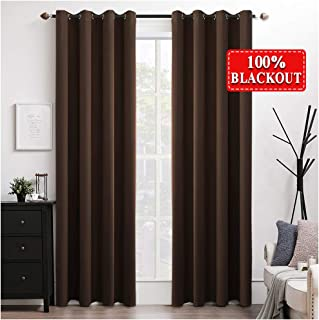 MIULEE 100% Blackout Curtains Thermal Insulated Solid Grommet Curtains/Drapes/Shades for Bedroom Living Room 2 Panels Chocolate 52x90 Inch