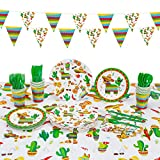 Decorlife Fiesta Party Decorations, Mexican Theme Party Supplies, Total 130PCS, Taco Plates, Cups, Fiesta Napkins, Cupcake Toppers, Table Cloth, Triangle Flags Bunting, Flatware Included, Serves 16