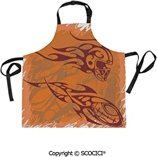 SCOCICI Fabric Durable Unisex Apron with 2 Pockets-Extra Long Ties, Tribal Ethnic Patterns Inspired Helmet and Ball Distressed Motion Score Boho Print,Home Baking or Kitchen Cooking