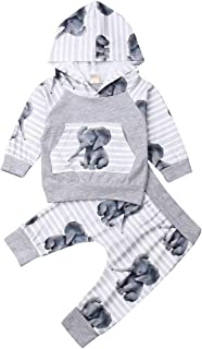 Newborn Unisex Baby Elephant Hoodie Top Pants with Pocket Outfit Fall Winter Clothes