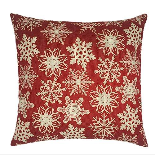Biodawn Rosso Cotone in Lino Natale fiocco di neve Divano Federa 45cm x 45cm