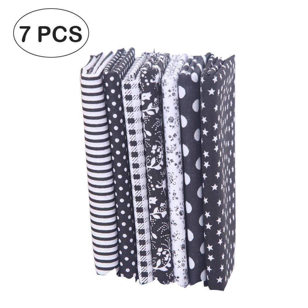7 piezas de telas de algodón paquete de tela 50x50cm para patchwork costura DIY Sin diseño repetido flores impresas (negro): Amazon.es: Hogar