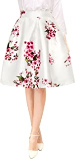 Women's Vintage Floral Prints High Waist Pleated A Line Midi Skirt