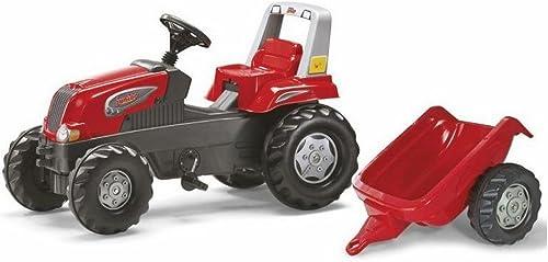 Tracteur à pédales rolly junior rojo + remorque 3-7 ans