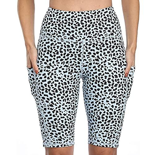 Yurmony Leggings de Mujer con Estampado de Leopardo Leggins Mujer Cintura Alta con Bolsillos Laterales Pantalones Mujer Deportivos Transpirables Pantalón Corto Deporte Mujer para Yoga y Pilates