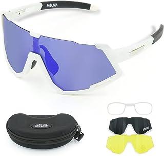 عینک آفتابی دوچرخه سواری MOLNIA مردانه ، عینک آفتابی پلاریزه UV 400 ، 3 عدسی ، عینک گلف بیس بال
