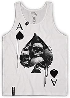 Vest Pistol Boutique mens White  Ace Of Spades Skull card fashion Singlet