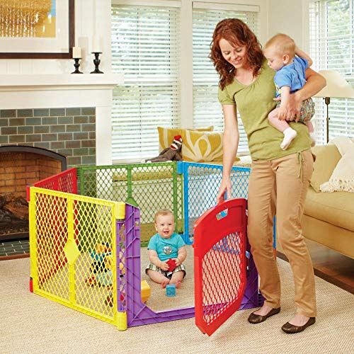 Toddleroo by North States Superyard Colorplay Ultimate 6-Panel Play Yard: Safe Play Area Indoors/Outdoors. Folds up with Carrying Strap. Freestanding. 18.5 sq. ft. Enclosure (26' Tall, Multicolor)
