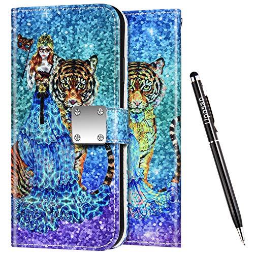 Uposao Kompatibel mit Samsung Galaxy S10 Hülle Leder Handyhülle Bunt Glänzend Bling Glitzer Klapphülle Flip Case Wallet Schutzhülle Brieftasche Klapphülle Tasche Kartenfächer,Mädchen Tiger