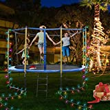 GBU Trampoline with Safety Enclosure Net - 6FT 8FT 10FT 12FT Indoor Outdoor Fitness Trampolines for Kids Recreational Jumping-Bed with Steady-Ladder Anchors Jumping Mat & Spring Cover