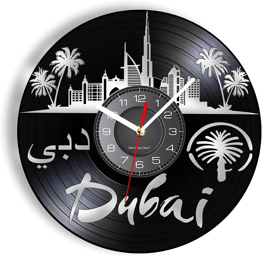Vinyl Wall Clock Dubai United Emirates Skyline A surprise price is realized Record Max 82% OFF Arab