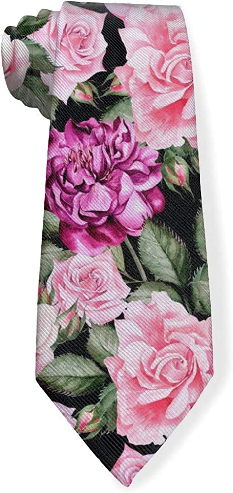 Watercolor Pattern with Flowers And Roses Mens Classic Color Slim Tie, Men's Neckties, Fashion Boys Cravats
