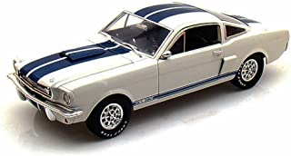 1965 Shelby GT350, White w/ Blue Stripes - Shelby Legend Series SC168-1/W - 1/18 Scale Diecast Model Toy Car