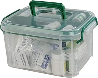 Idomy Plastic Lockable Medication Box, Small Family First Aid Box, Medicine Lock Organizer, Clear