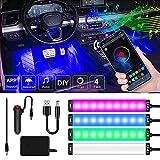 MONDEVIEW Luces LED Coche Interior, LED Interior Coche Soporta APP Bluetooth de Control con 16 Millones Colores Música RGB de DIY, Mechero/Encendido de Cigarrillo, DC y USB para Cableado, IP67, 12V