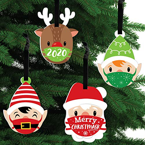 Big Dot of Happiness Merry Christmask - 2020 Quarantine Christmas Party Decorations - Christmas Tree Ornaments - Set of 12