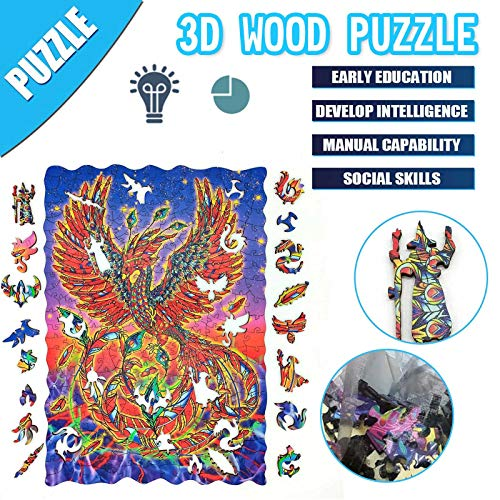 N / N Jigsaw Puzzles for Adults and Kids, 300 Pieces Wooden Irregular Unique Shaped Puzzle Toy, Children's Puzzle, Animal Shaped Jigsaw, Gifts for Mom Dad, Gift for Friend, Phoenix