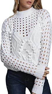 Women's Long Sleeve Knitted Hollow Out Pullover Sweaters Jumpers