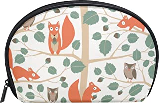 ALAZA Squirrel Tree Half Moon Cosmetic Makeup Toiletry Bag Pouch Travel Handy Purse Organizer Bag for Women Girls