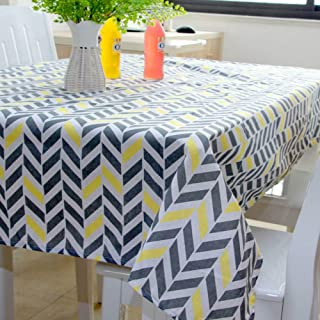 JMbeauuuty Table Cloth for Kitchen Yellow and Blue Geometric Patterns-55x70 Inch