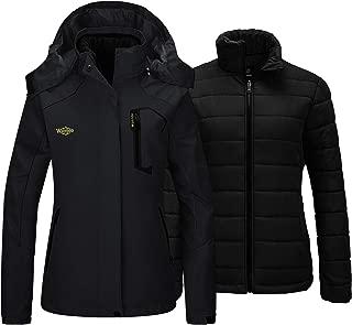 Women's 3 in 1 Ski Jacket Waterproof Raincoat with Removable Puffer Inner