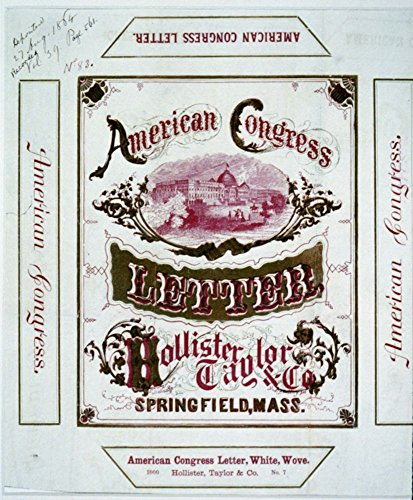 1864 Photo American Congress letter - Hollister, Taylor & Co., Springfield, Mass. Advertising label for stationery showing U.S. Capitol.