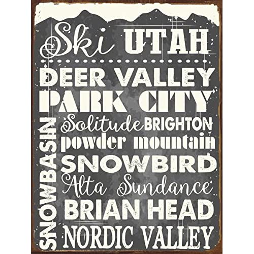 Ski Utah Metal Sign Sport Winter Mountain Cabin Lodge