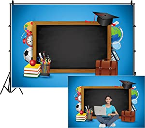 DASHAN 5x3Ft Polyester Back to School Backdrop Blackboard Graduation Cap Book Learning Tool Photography Background for Blue Online Teaching Course Decor Homecoming Student Children Photo Booth Studio