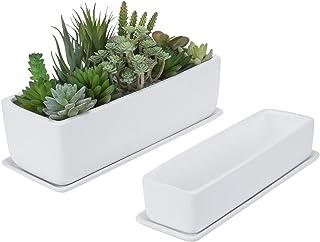 MyGift Rectangular Modern Matte White Ceramic Succulent Planter Pot Window Box with Removable Saucer, Set of 2