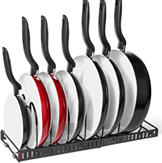 7+ Pans Expandable Pan and Pot Organizer Rack: 2 Racks or 1 Expandable Rack, Total 7 Adjustable Compartments, Kitchen Cabinet Countertop Bakeware Lid Holder