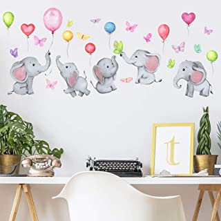 Kids Animals Wall Stickers Peel & Stick Elephant Mural Decals for Nursery Wall Decoration Baby Bedroom Playroom Decor Grey...