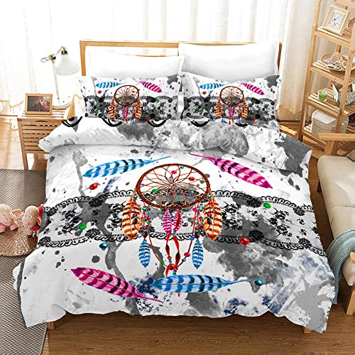Double bedding duvet set 3D Wind chimes pendant feather 3 Pcs Polyester Ultra Soft Hypoallergenic bedding -(Duvet covers 1x102x87 inch with zippered closure, envelope pillowcase 2x20x30 inch)