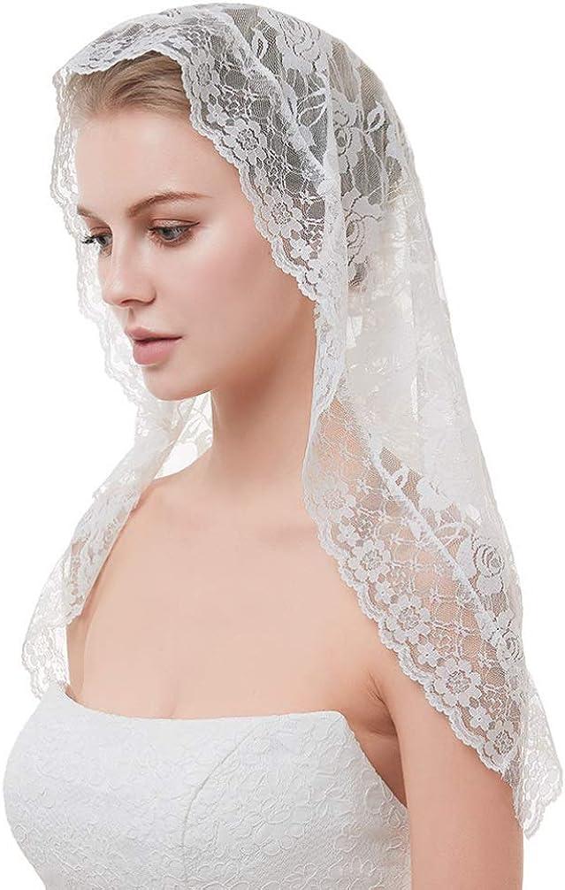 PRETYZOOM Lace Bridal Veil Short Wedding Veils Tulle Bridal Headband Veil Bridal Hair Accessories for Women Girls