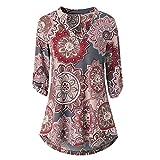 Proumy Camiseta Burdeo Étnica de Mujer con Manga Blusa Cuello V Camisa Floral Multicolor Vestido Estampado de Flores Colores Elegante Tank Top con Impresión de Talla Grande