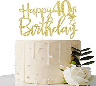Gold Glitter Happy 40th Birthday Cake Topper,Hello 40, Cheers to 40 Years,40 & Fabulous Party Decoration