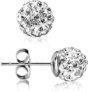 UHIBROS 316L Surgical Stainless Steel Stud earrings Round Ball Diamond Ear Stub