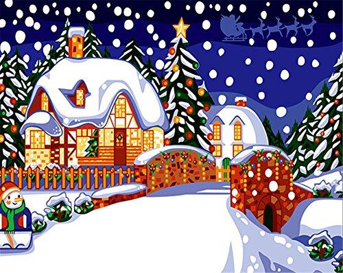 CaptainCrafts Nouvelle Peinture par numéros 16x20 pour Les Adultes, Enfants Toile - Content Nuit de Noël Vue de la Neige (sans Cadre)