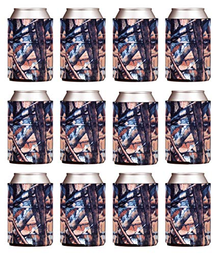 TahoeBay Blank Beer Can Coolers, Plain Bulk Collapsible Foam Soda Cover Coolies, Personalized Sublimation Sleeves for Weddings, Bachelorette Parties, HTV Projects (Camo)