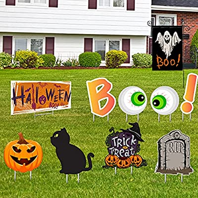 Amazon - 40% Off on Halloween Yard Signs Decoration Kit, Ghost Flag and Lawn Decor Signs with Stakes