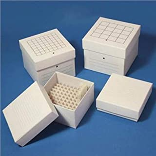 Globe Scientific Cardboard Storage Box for 15mL Centrifuge Tubes, 49 Place, 134mm Length, 134mm Width, 115mm Height, White...