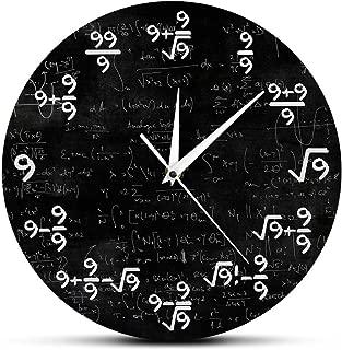 FDSKF.N The Nines Math Wall Clock Number 9 Math Modern Clock Wall Watch Math Equation The Clock of 9s Formulas Mathematical Wall Art