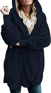 Paitluc Womens Wool Coats Lapel Plush Jacket Oversized Jacket with Pockets Womens Winter Coats