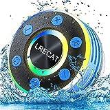 Doccia Cassa Altoparlante Bluetooth, IPX7 Impermeabile Speaker Wireless 8 Ore di Riproduzione con Microfono Incorporato Luce LED, Chiamata Senza Mani Altoparlante Portatile con Ventosa per Bagno.