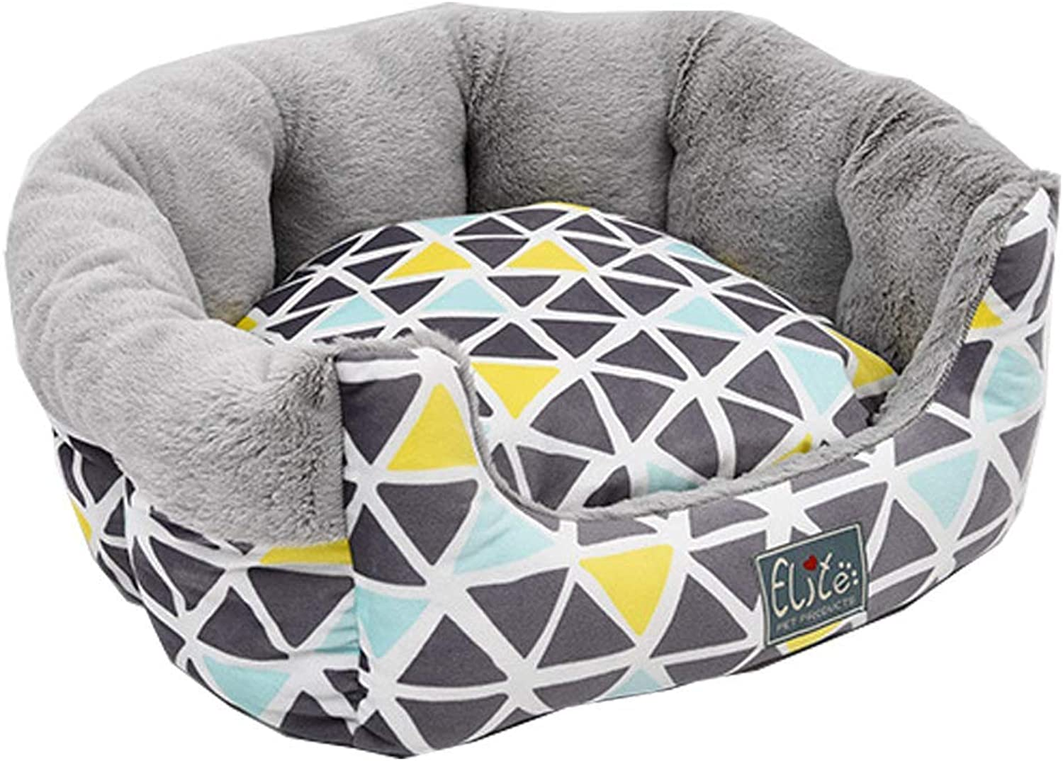 Gperw Pets Dog Cat Bed Soft Washable Comfortable Autumn and winter geometry Non Slip Cushion Pad (Size   L)