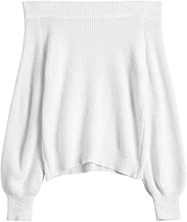 Women's Knit Sweater Lantern Sleeve Casual Batwing Sleeve Off Shoulder Loose Pullover Jumper