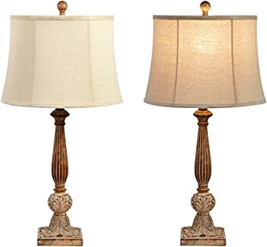 Maxax Table Lamp Set of 2 Poly Beside Nightstand Lamps with Oatmeal Fabric Shade for Living Room and Bedroom