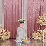 Poise3EHome Sequin Backdrop Curtain 2 Panels 3Ftx7Ft for Wedding Party Decor, Fuchsia Pink