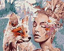 Painting by Numbers DIY Oil Painting for Adult Fox and Woman Flowers Canvas Print Wall Art Decoration 40X50Cm