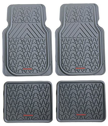 Firestone FS-1943 All-weather Tan Heavy Duty Rubber Floor Mats 4-piece